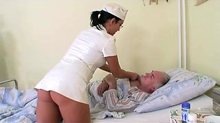 Granny watches grandpa fucks nurse in hospital