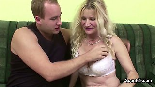 Young Boy Seduce natural Tits MILF to get first Fuck