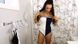 Fitness model try on go to 5:34 for see thru top