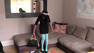 Pantyhose ebony gal assfucked on casting
