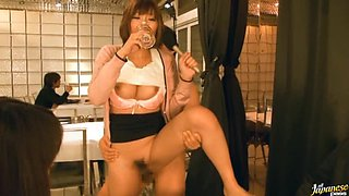 Sexy Asian Babe Tries To Eat while Getting Fucked In Kinky TV Show