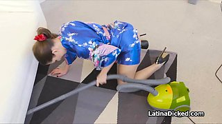 Latina wife rides vacuum salesman