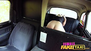Female Fake Taxi Busty curvy squirting blonde driver