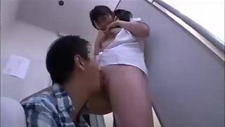 Asian fucked and squirt in library toilet