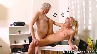 Skanky blonde sucks an old cock and gets fucked hard