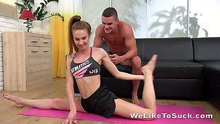 Svelte flexible chick Milissa Benz gives terrific deepthroat BJ after doggy