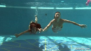 Two adorable hotties Olla Oglaebina and her nasty girlfriend are swimming in the pool