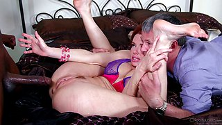 A cute wife forced to have sex with a black man with a massive dick by her dirty husband