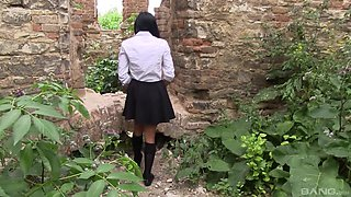 Nasty schoolgirl takes off her panties for a masturbation session
