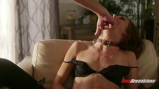 Andi Rye wearing black underwear and riding a pulsating shaft