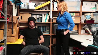 Lonely MILF security punish fucks a problematic guys cock