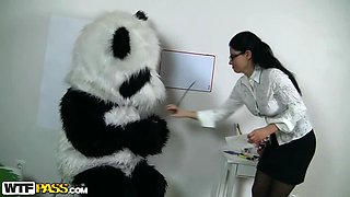 Amazingly Hot Tutor Gets Her Pussy Pleased By A Panda Teddy