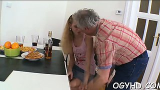 Breathtaking young babe enjoys old ramrod in mouth and pussy