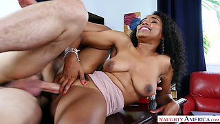 Curly ebony secretary Jenna Foxx is hammered in spoon pose on the table