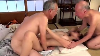 Sultry Japanese babe nailed hard by two horny old perverts