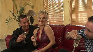 Insatiable Britney getting dicked by two hung guys simultaneously