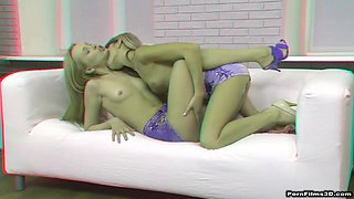 Girl on Girl in 3D Followed by Threesome