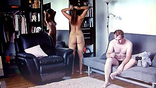 Young couple nude at home