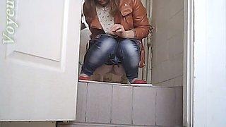 White stranger chubby white chick in the toilet room