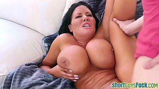 Black-haired busty cougar banged by a little guy after sucking his cock