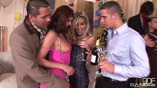 Cute Veronica Clinton and her friends play with dicks at the party