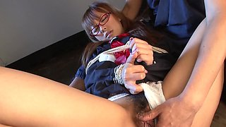 Sexy oriental girl doesn't disturb tormentor while he is working