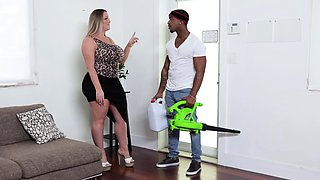 Interracial Threesome with BBW Milf and Blonde Teen