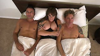 Big breasted MILF Gia Paloma is ready to work on two bisexual men
