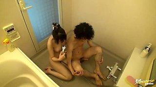 Horny Japanese slut gives a blowjob in the bathroom