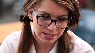 Nerdy attractive teen student Joseline Kelly gets banged