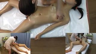 Japanese MILF enjoys an oily massage and fingering