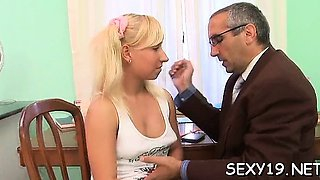 Demure babe gets her pleasing pussy ravished by teacher