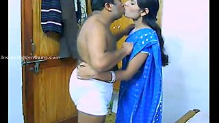 Beautiful Indian wifey in saree teased by her mature hubby