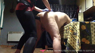 French Mistress with huge Dick Fucks and Fists her Slave