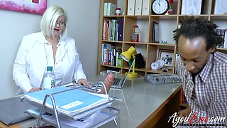 Lusty British doctor Lacey Starr check out black cock of her patient
