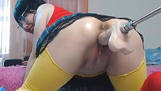 Hot asian webcam babe cant start fucking machine with a huge dildo