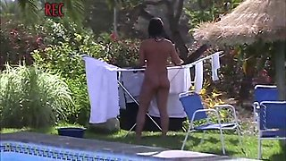 Neighbor naked at the pool