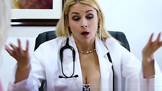 Young bimbo seduces busty lesbian doctor and licks her twat