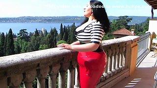 The Hot Rockabilly Bitch - Outdoor Latex Blowjob Handjob in Italy - Cum on my big boobs