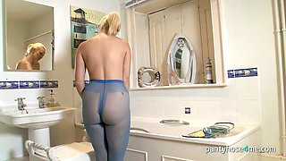 A nasty blonde in pantyhose is teasing