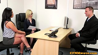 CFNM businesswomen blowing clients cock