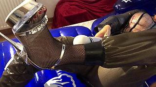 Latex Fetish Nails Masturbation on Inflatable Bed