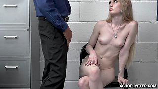 Security officer pulverizing Emma Starlettos tight pussy