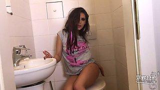 cute teen smokes and masturbates in the bathroom