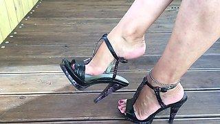 Vika feet and heel dangle tease