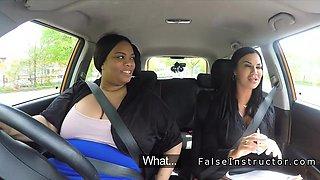 Fat ebony toying in driving school car