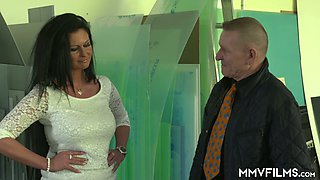 Impressive busty German brunette Vivian Skylight gets nailed doggy style