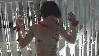 Tied up cutie Adreena gets her cunt punished with a toy