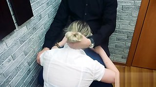 Passionate secretary gives blowjob to her boss and he cums in her mouth