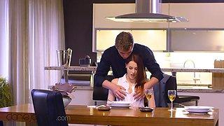Charlie Red, Steve Q And Dane Jones - Ginger Euro Babe Romantic Sex On Kitchen Table